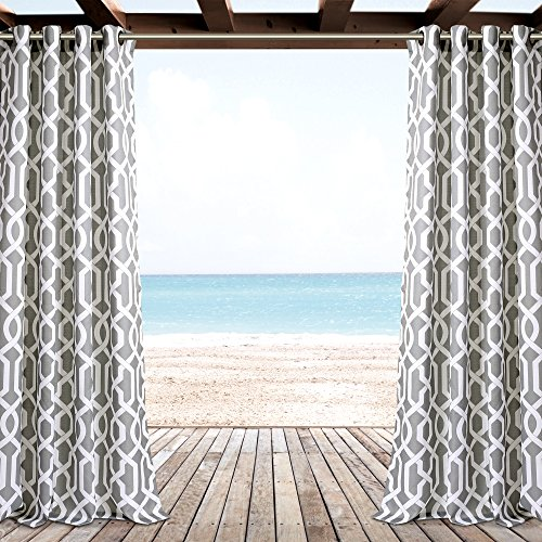 "Lush Decor Décor Edward Trellis Outdoor Window Curtain Panel Set, 84"" x 52"", Gray"