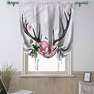 Mannwarehouse Window Curtain Tie Up Shades, Full Light Blocking Drapes for Kitchen Windows, Antler - Black Deer Horns with Roses - 23