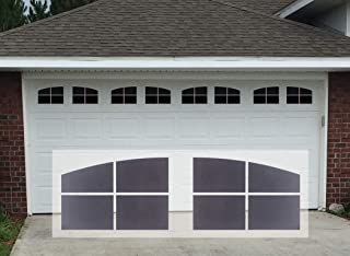 Sanfurney Magnetic Garage Door Windows Panes Arch Style Pre-Cut Faux Fake Decorative Window Decals 32 Pack for 2 car Garage Kit
