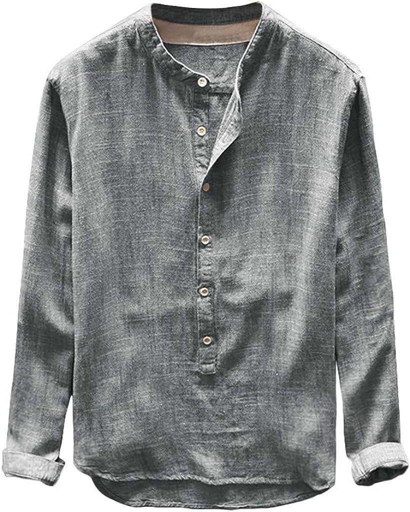 LIUguoo Autumn Winter Mens Cotton Linen Henley Shirt, Half Button Long Sleeve Loose Beach Shirt Plus Size