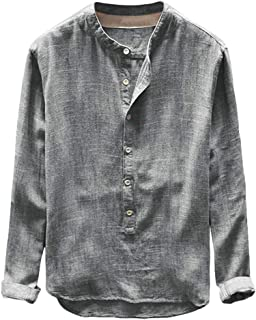 Button Casual Top Fashion Mens Autumn Winter Linen and Cotton Long Sleeve Blouse