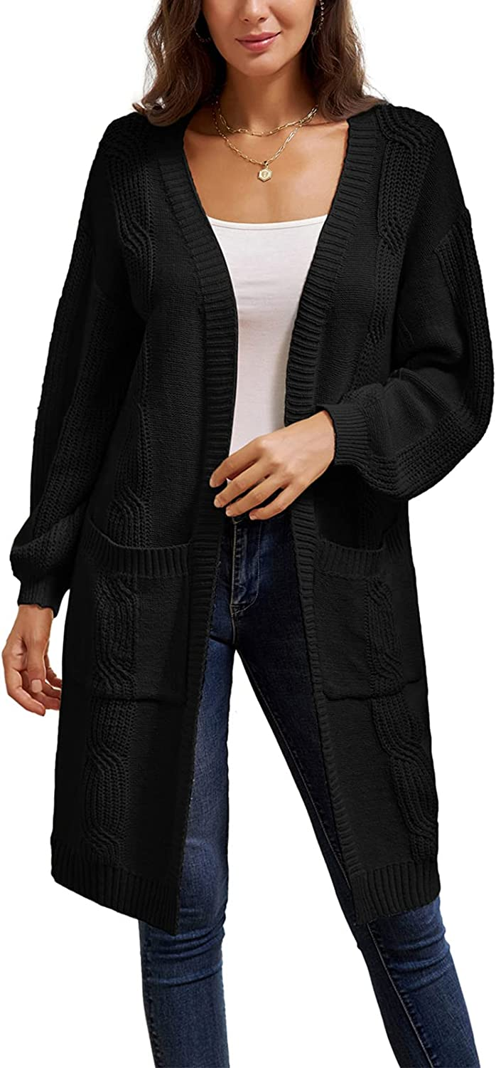 GRACE Max 57% OFF KARIN Women's Long In a popularity Sleeve Knit Front Casual C Sweater Open