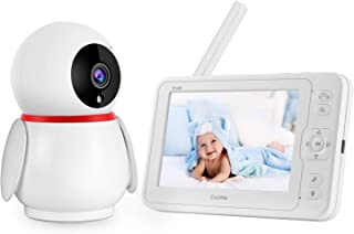 Cozime Baby Monitor con 5 Inch LCD Schermo, Interfono, Visione Notturna, Monitoraggio Della Temperatura, Ninnananna (5 inch) (5 inch)