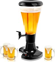 Goplus Beer Tower Dispenser 3L Cold Draft Beer Tower Beverage Dispenser with LED Lights & Removable Ice Tube, Perfect for Parties Home Bar Use