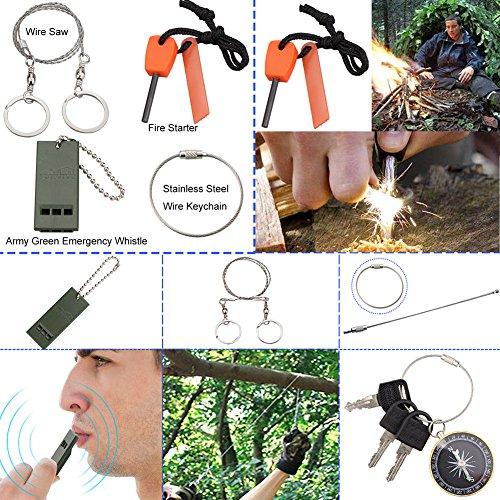 Monoki 9-In-1 Portable Compact Outdoor Emergency Survival Kit