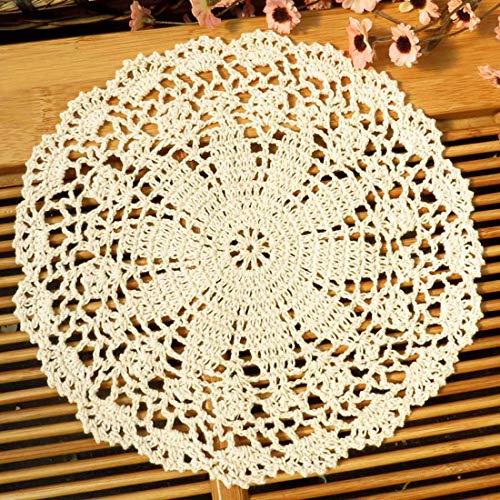 Kilofly Centrino in cotone lavorato a uncinetto, confezione da 4 pezzi, fantasia Persia, Cotone, Beige, 10 inch beige