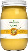 Tasty Superfoods Grass Fed Organic Ghee - Glass Jar of Pure, Unsalted Clarified Butter from Grass-Fed Cows - Best Healthy Oil for Indian Cooking, in Coffee, or for diets like Paleo and Whole30 (16oz)