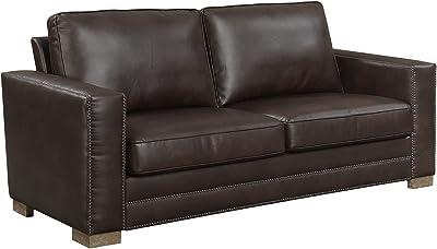 Fabulous Amazon Com Hydeline Metro 100 Leather Sofa Chatham Grey Machost Co Dining Chair Design Ideas Machostcouk