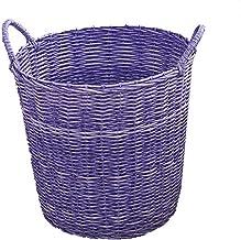 Storage Basket Dirty Clothes Bin Large Weaving Bathroom Toy Storage Waterproof Storage (Color : Purple)