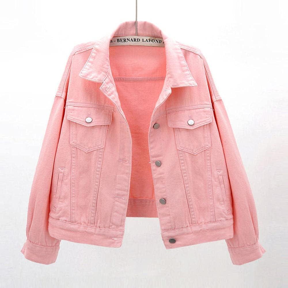 Women's Plus Size Denim Jacket Spring Autumn Short Coat Pink Jean Jackets Casual Tops Purple Yellow Loose Outerwear