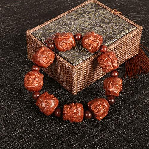 Gu-Jin Gang-In-Hand Guanyin Bodhi Buda Como Un Melocotón Cannie Beads Pulsera Rohan Men String Buddha Bead Guangong Sangre Natural Sandalwood - Dieciocho Rohan