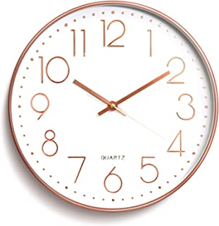 Decorative Wall Clocks,Rose Gold Digital Wall Clock,12 Inch Quality Quartz Battery Operated Round Easy to Read Clock for H...