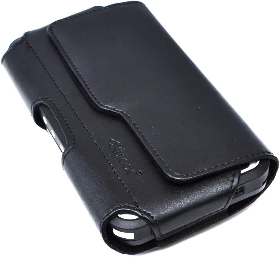 Galaxy Note 10+ Plus Holster, Galaxy Note 8 / Note 9 Cell Phone Belt Case with Belt Clip Loops Leather Pouch Holder for Samsung Galaxy Note 10 Plus/Note 8/9 (Fits Phone w/Otterbox Case On) - Black