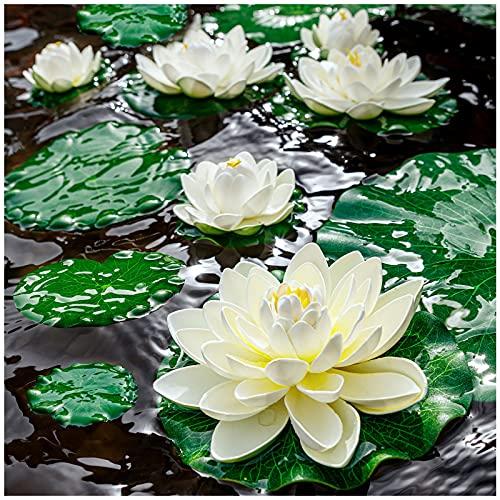 Fake Lily Pads , 9 PCS Artificial Lotus ,...