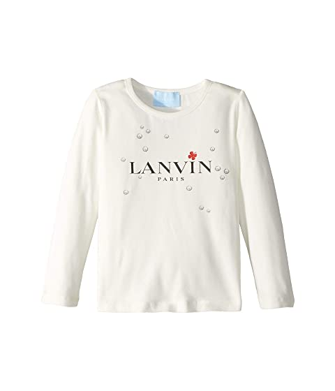 Lanvin Kids Long Sleeve Logo T-Shirt with Printed Bubbles (Toddler/Little Kids)