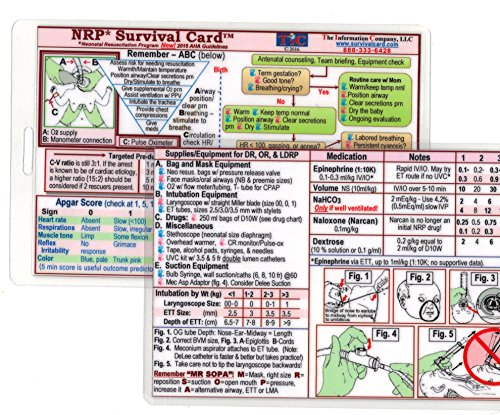 NRP (Neonatal Resuscitation Program) SURVIVAL CARD Quick Reference Guide (Small 3 x 4 3/8 in., Badge/ID Size) - Laminated with hole punched - Water Resistant