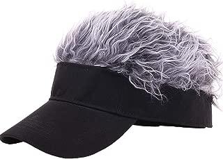 CRUOXIBB Flair Hair Visor Sun Cap Wig Peaked Baseball Hat Novelty Adjustable Visor with Spiked Hair