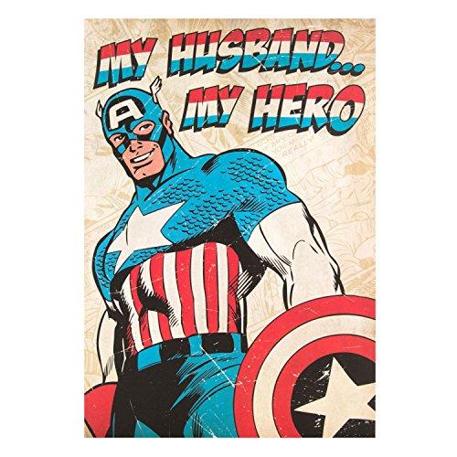 """Hallmark Geburtstagskarte für den Ehemann, Marvel-Design: Captain America """"My Hero"""" (in englischer Sprache), Gr. M"""