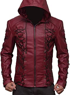 Arrow Arsenal red Hooded Colton Haynes Costume Faux Leather Jacket