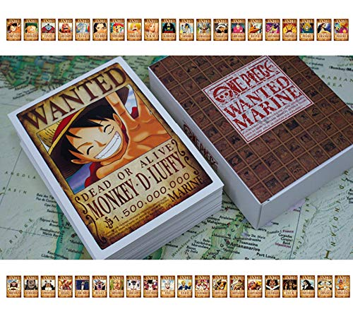 100 Pcs One Piece Pirates Wanted Postcards Boxed, New Edition Straw Hat Luffy 1.5 Billion Anime Gift Cards Set Include Luffy Chopper Zoro Nami Usopp Sanji Jinbe Franky Brook Robin And More