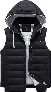 Zoulee Men's Stylish Padded Body Warmer Vest Hooded Down Vest Removable