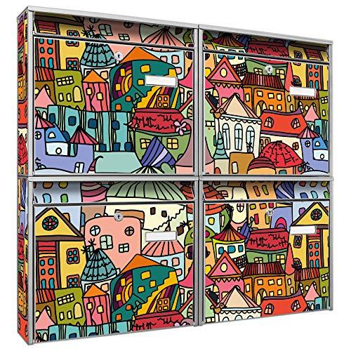 Burg-Wächter Briefkastenanlage 4 Fach | Postkästen 72,4x64,4x10cm groß | verzinkter Stahl schwarz DIN A4 Motiv Funky Town | Briefkasten Set 4 Briefkästen Namensschild, 2 Schlüssel, Montagematerial