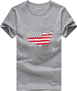ANJUNIE Women Independence Day Large Size Print T-Shirt Short Sleeve Tee Slim Tops