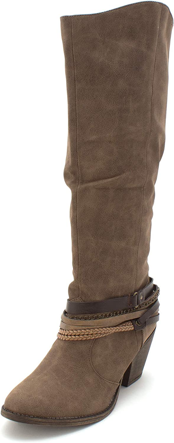 EDL PRESENTS POP Womens Drake Leather Closed Toe Knee High Fashion Boots