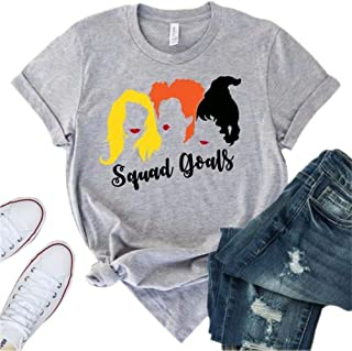 Women's Squad Goals Halloween T-Shirt Sanderson Sisters Printed Short-Sleeve O-Neck Tops Tees