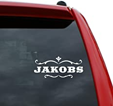 "Black Heart Decals & More Jakobs Vinyl Decal Sticker | Color: White | 2.2"" x 5"" 