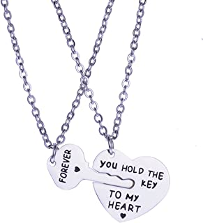YEEQIN 2PCs His Crazy Her Weirdo Couples Keychains Set, Couple Necklace Set, Personalized Couples Jewelry (You Hold The Key to My Heart Forever Necklace Set)