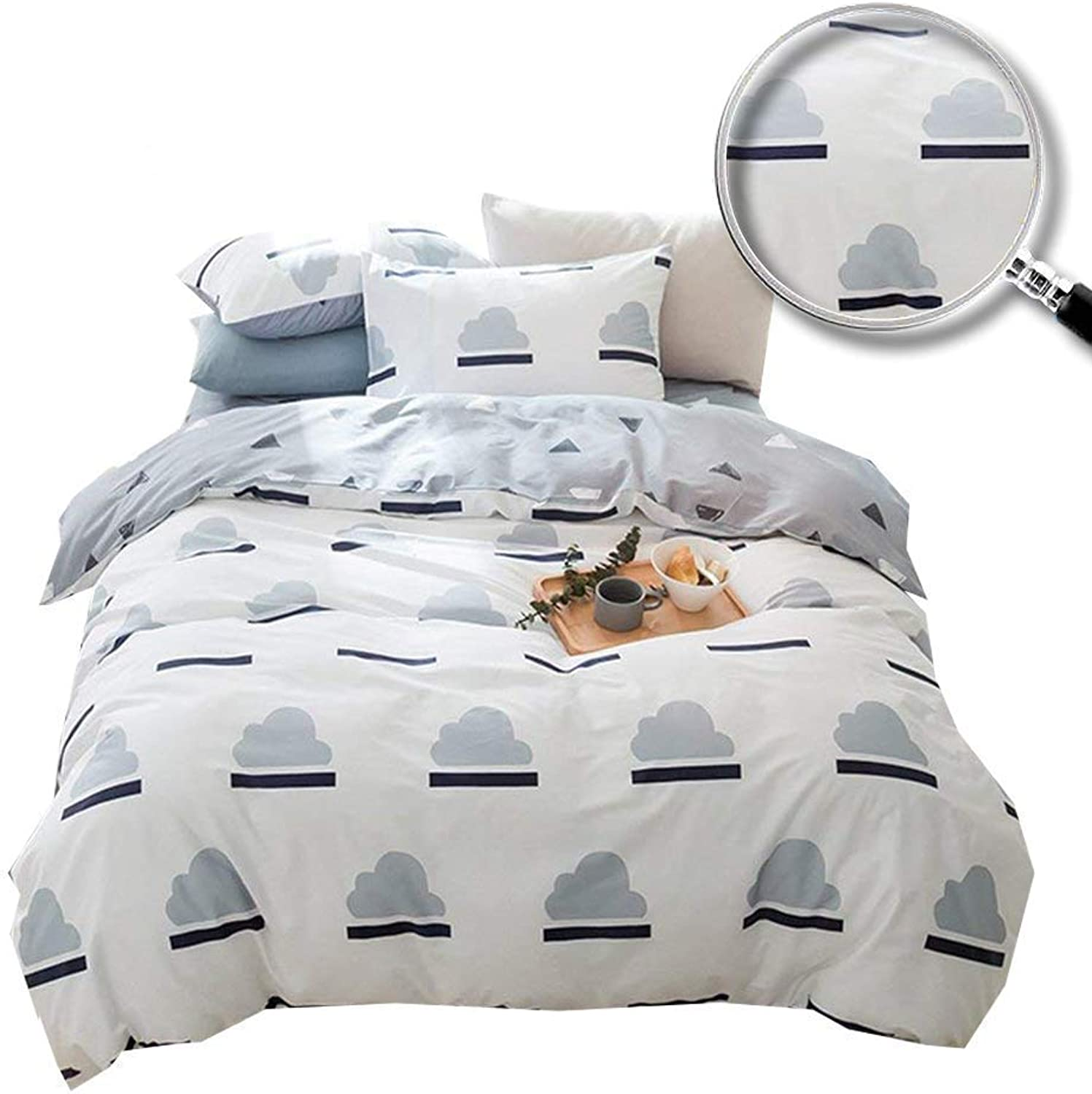 XUKEJU Reversible 3 Pieces Duvet Cover The Clouds Patterns Printed Bedding Set 100% Cotton Quilt Cover Queen Full Size for Boys Girls Adults