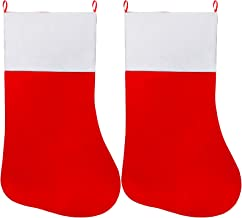 Cooraby 2 Pack Extra Large Felt Christmas Stockings Red and White Jumbo Stocking Giant Christmas Stocking Decoration for H...