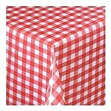 WACHSTUCH Tischdecken Wachstischdecke Gartentischdecke, Abwaschbar Meterware, Länge wählbar,Klein Kariert Rot Weiß (112-02) 300cm x 140cm