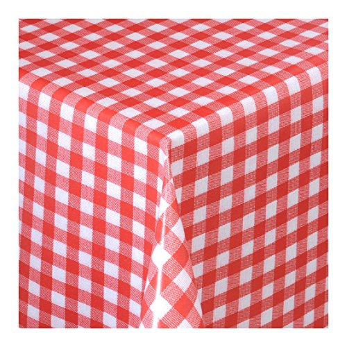 WACHSTUCH Tischdecken Wachstischdecke Gartentischdecke, Abwaschbar Meterware, Länge wählbar,Klein Kariert Rot Weiß (112-02) 2000cm x 140cm
