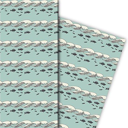 Kartenkaufrausch Nautisches Geschenkpapier Set 4 Bogen, Dekorpapier mit Meeres Wellen und Fischen, hellblau, für schöne Geschenk Verpackung, Musterpapier zum basteln 32 x 48cm