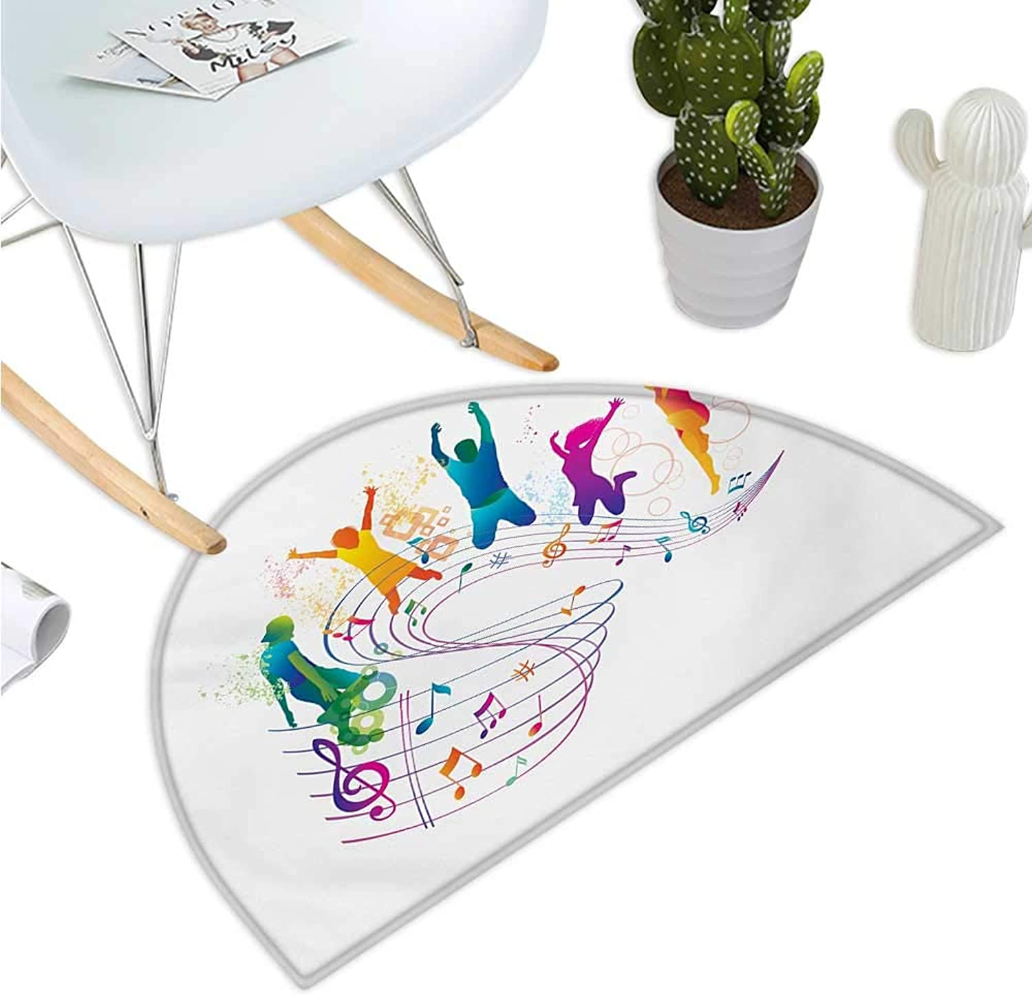 Youth Semicircle Doormat Active Dancing Jumping People Vibrant Silhouettes with Musical Notes Joyful Festival Entry Door Mat H 35.4  xD 53.1  Multicolor