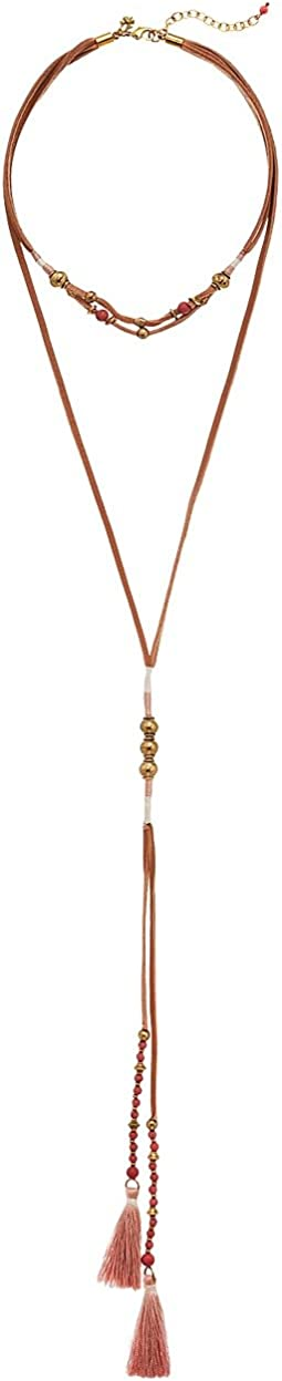Beaded Leather Layered Necklace