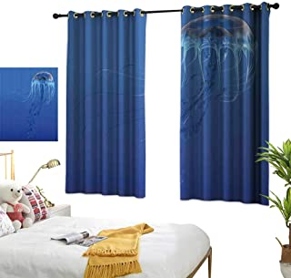 Navy Blue Curtains Jellyfish,Blue Spotted Jelly Fish Aquarium Life Marine Animals Ocean Predator in Deep Water Aquatic,Blue 84