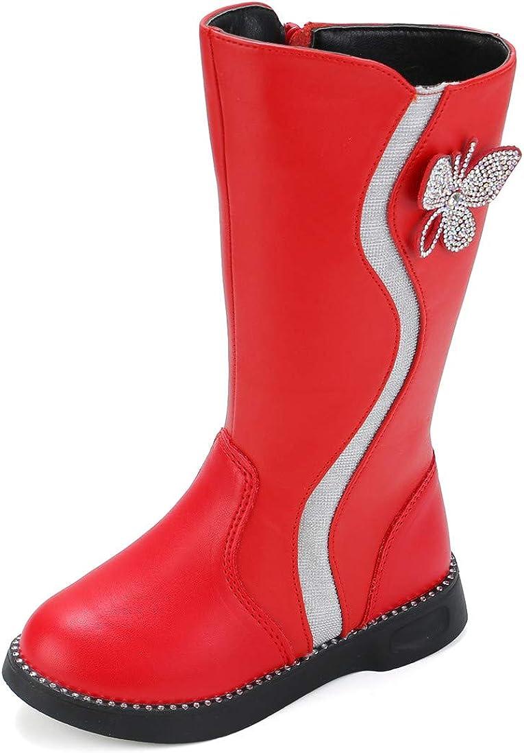 DADAWEN Sale SALE% OFF Girl's Waterproof New product! New type Rhinestone Butterfly Zipper L Side Fur