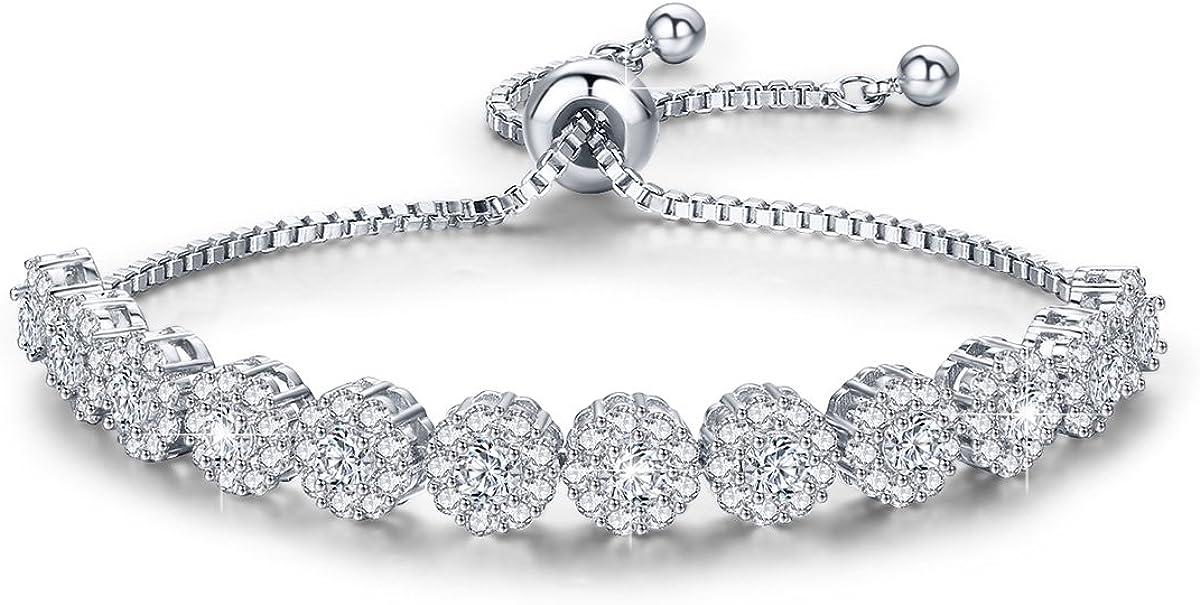 Speverdr Gold Plated Adjustable Bracelet Cubic Zirconia Wedding Bangle Bracelets for Women