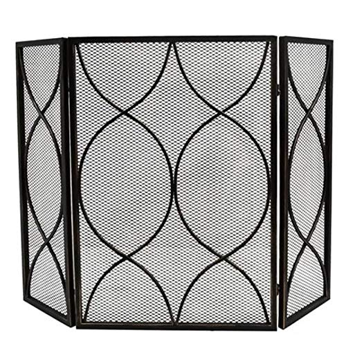 New Fireplace Screens YXX- Indoor/Outdoor Metal Mesh, Foldable 3-Panel Fire Place Screens, Black Wro...