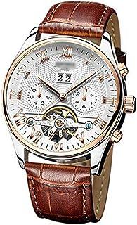 ساعة رجالية أوتوماتيكية Open work Tourbillon ساعة ميكانيكية بحزام جلدي مضادة للماء ساعة مخصصة لذكرى الزواج
