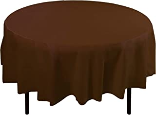 Exquisite 12-Pack Premium Plastic 84-Inch Round Tablecloth - Brown