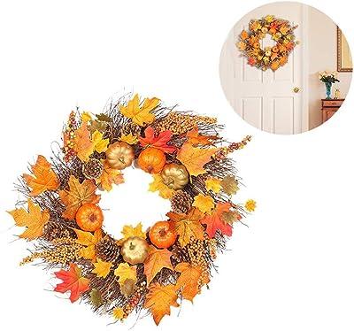 Smartey Corona di Natale Decorazione Autunnale Corona Foglia dAcero Corona di Girasole Autunno Zucca Ghirlanda Ingresso casa Decorazione Pasquale Festa del Ringraziamento