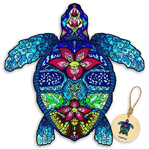 DEPLEE 木製ジグソーパズル 亀のアートワーク付き 動物のユニークな形のジグソー 大人/子供/家族/友人に最適なパズルゲーム 280-330ピース (19.3 x 19インチ) スーパーキング