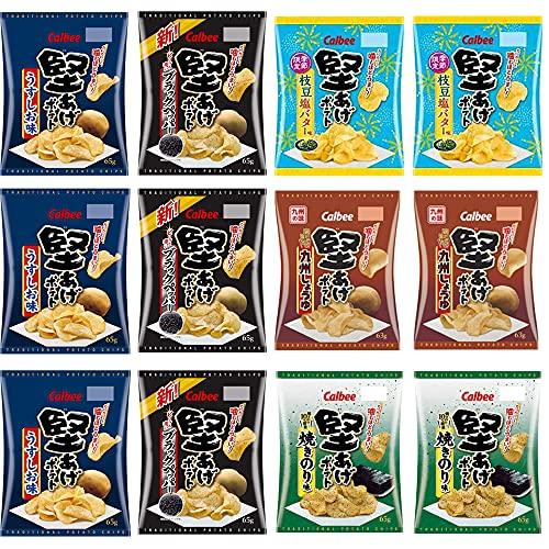 カルビー 堅あげポテト 詰め合わせ 5種 セット 九州しょうゆ ブラックペッパー うすしお味 焼きのり味 枝豆塩バター (計12袋)