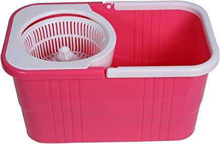 KEVAY P315 Plastic 360° Spin Mop with Easy Wheels Bucket for Magic Cleaning mops (with 2 Refills) (Pink)