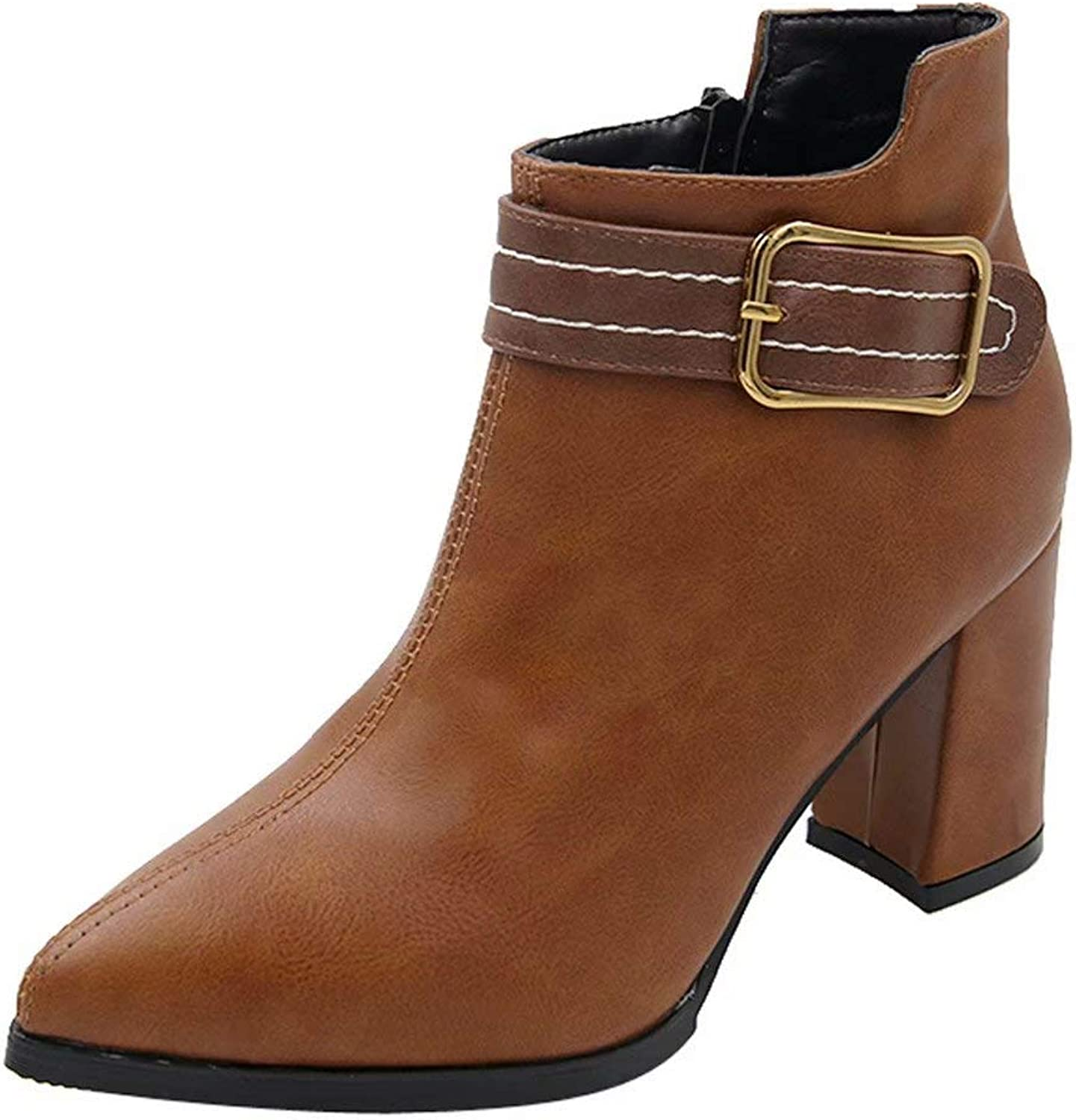 Women High Heel shoes Martain Boot Leather Solid color Round Toe Zipper shoes
