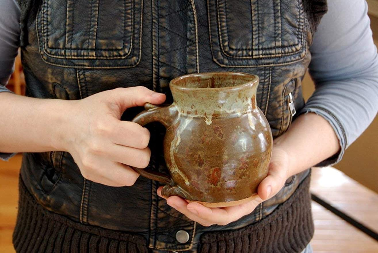 Hand Thrown Pottery Coffee Mug in Brownstone